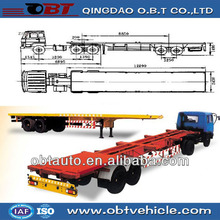 Skeleton semi trailer for container transport