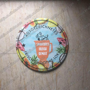 custom hanging embossed curved round sign, round tin sign