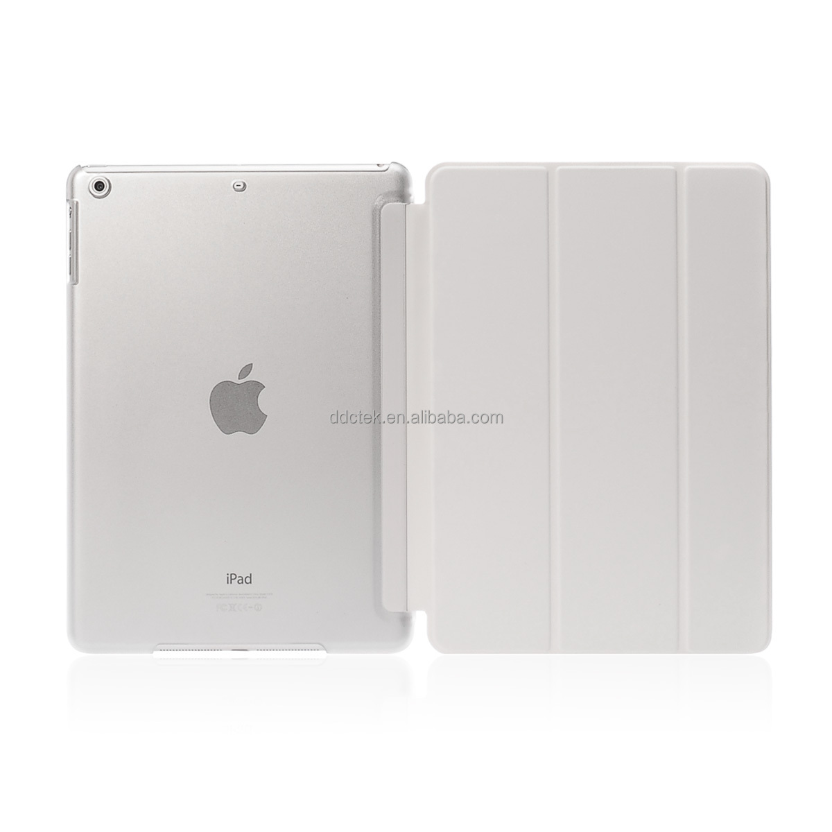 New arrival acrylic PC base PU leather cover for ipad air 2 case with stand vision White