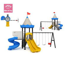 Blue castle kindergarten outside backyard play structures for kids
