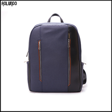 Fashion genunie leather canvas laptop backpack bag for teen