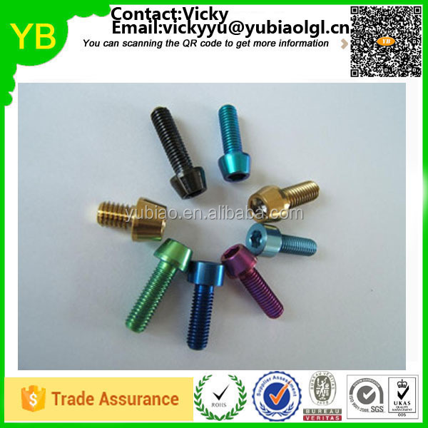 Custom heavy duty anodized bolts,color anodized titanium bolt,anodized colored bolt