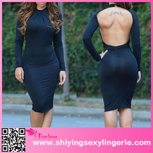 Big Stock Wholesale Black Mock Neck Sexy Backless Evening Gowns In India