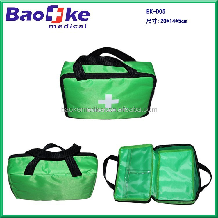 BK-D05 Green first aid kit bag with medical products car travel bag for personal use
