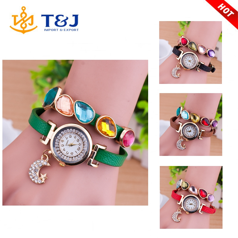 2016 Summer Style PU Leather Colorful Rhinestone Multilayers Women Wristwatch Ladies Watch