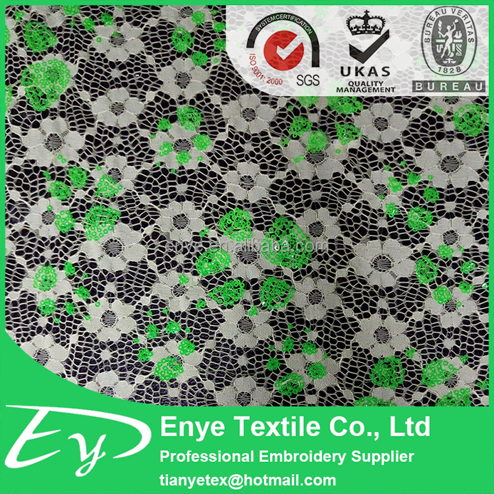 Latest EY-13587 polyester mesh colorful 3mm sequin lace fabric for sale