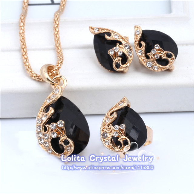 New Fashion 18k Gold Plated Jewelry Water Drop Crystal Peacock Bridal Wedding Jewelry Sets ST062