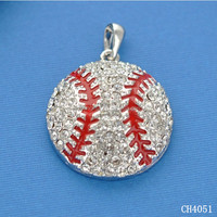 Alibaba website hot rhinestone baseball charm for jewelry