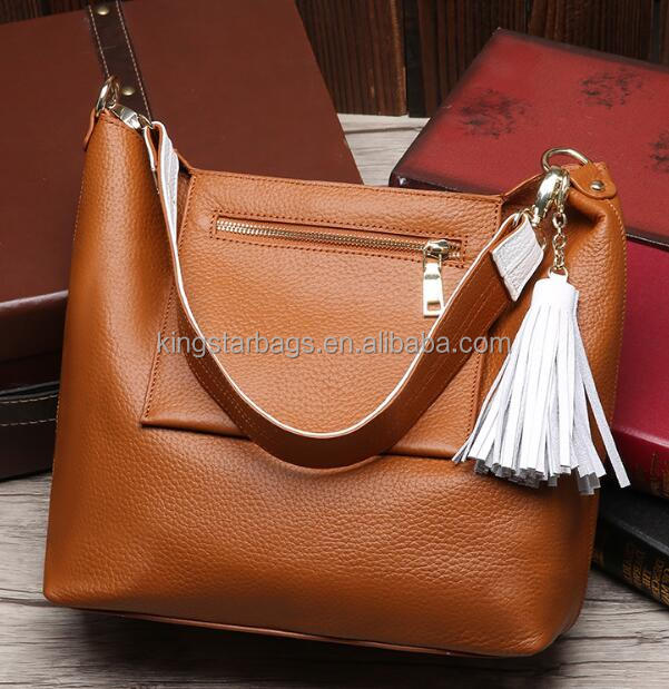 European fashion women bucket handbag genuine leather tote bag with tassel