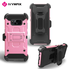 IVYMAX Rugged Future Armor Impact Hard Phone Cases For Samsung Galaxy S8 Belt Clip Holster Combo Cover Kickstand Case Protector