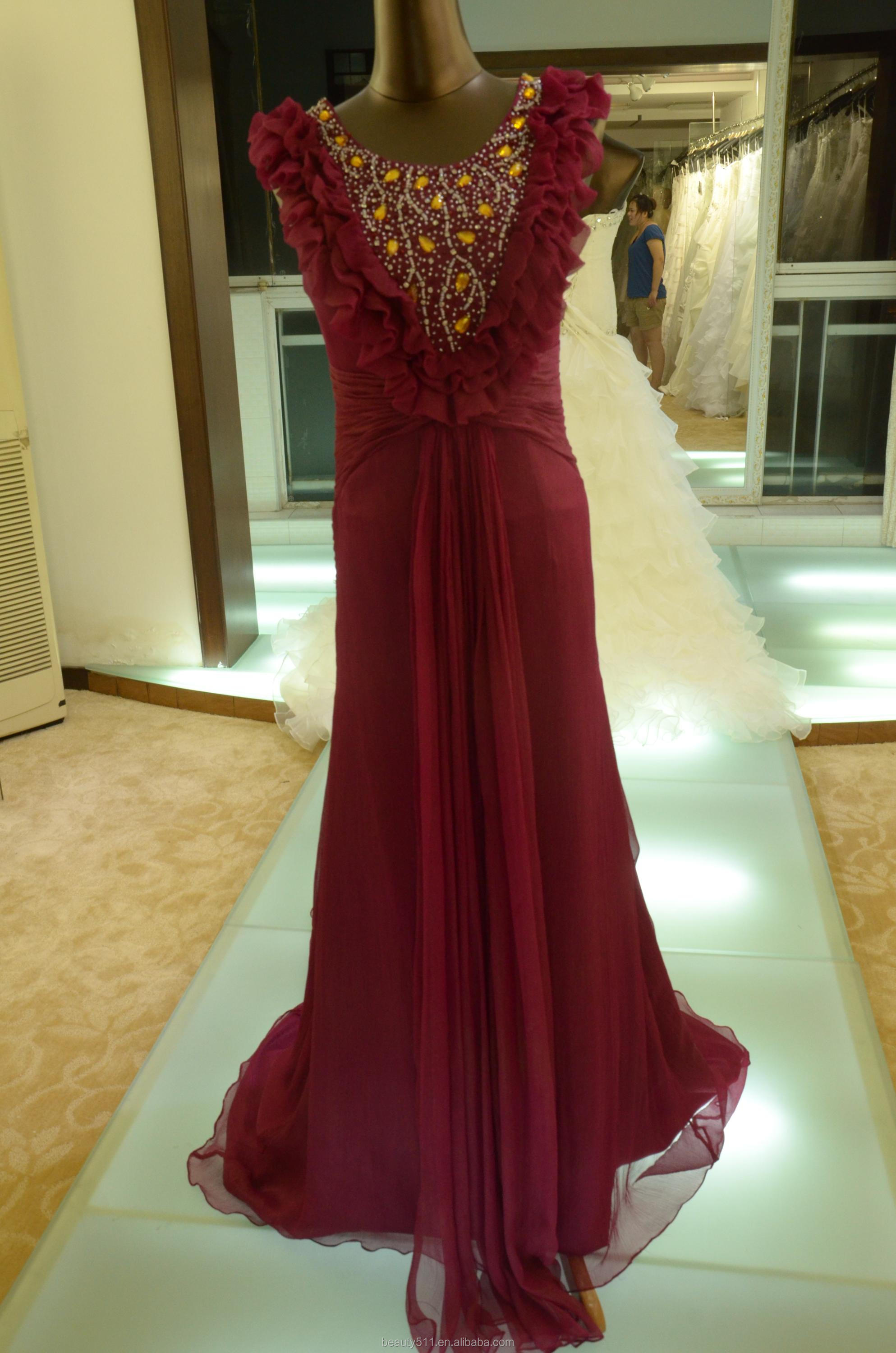 IN STOCK Scoop party dress women's real silk red prom dress SE17
