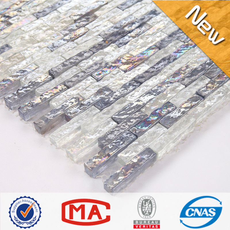 LJO JY-<strong>G</strong>-<strong>101</strong> Hotel Hall Wall Tile Foshan Strip Iridescent Wavy White and Grey Blue Premium Mosaic Glass Tile Prices