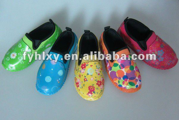cute rubber ankle colorful kids neoprene rain boots