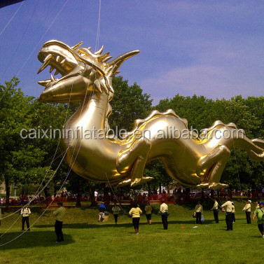 Giant golden inflatable chinese dragon for events