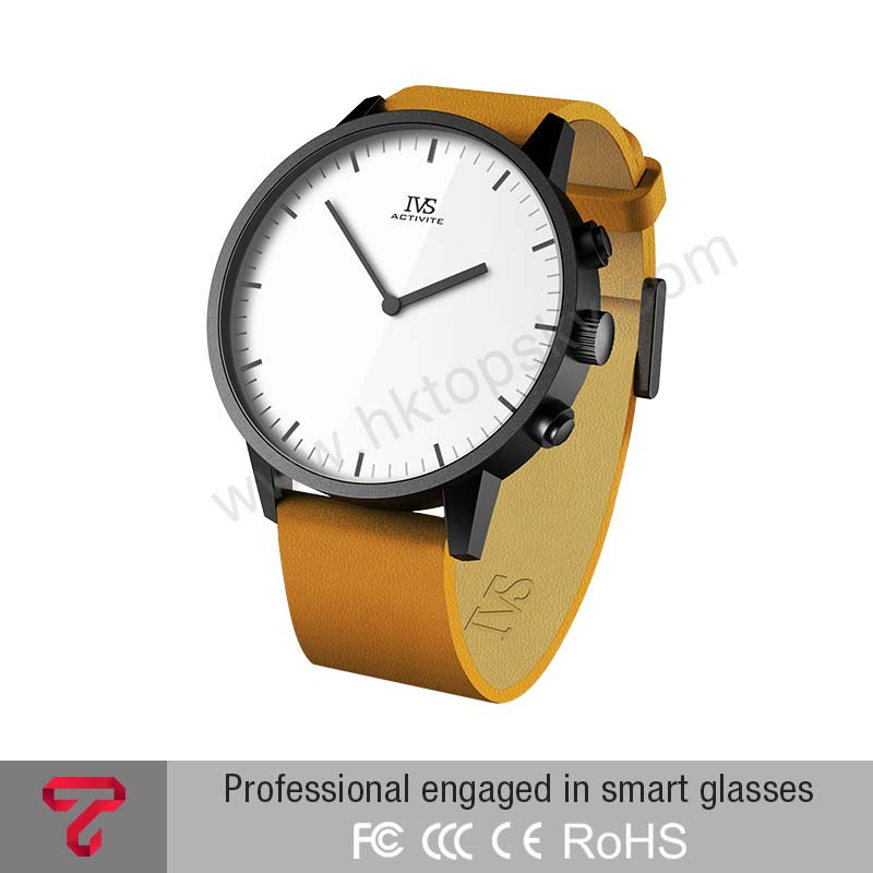 android 4.3 fit bit smart watch fashion style white with brown band