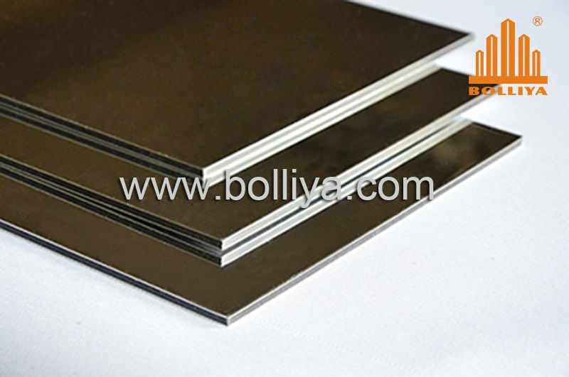 Brushed Aluminum Composite Panel : Anodized mirror brushed hairline aluminium composite panel