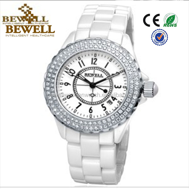 White or Grey Ceramic Watch Lady Diamond Watch Brand Women Fashion Watches 30m Water Resistant