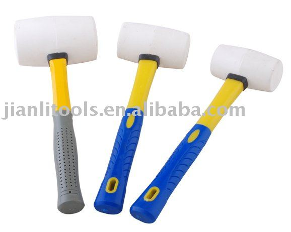 White rubber mallet with plastic coating handle