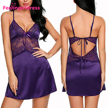China Wholesale Purple Satin Lace Women Sexy Lingerie