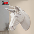 ROOGO resin realistic 3D white unicorn head shape living room decor wall hanging