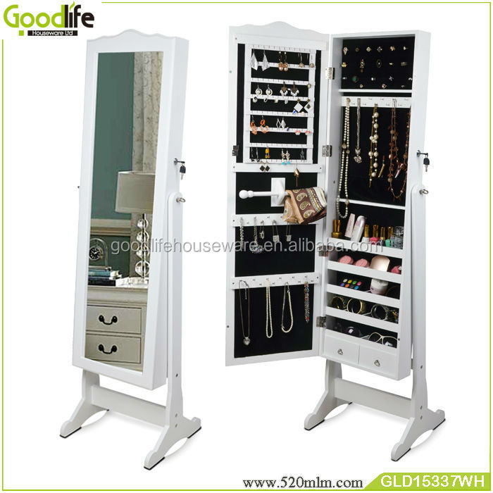 white jewelry armoire cheval mirror with shape
