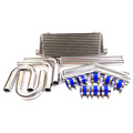 "Universal Alloy Intercooler 600x300x76mm 3"" Hard Pipe Kit Silicone Clamps"