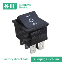 t85 6 pin rocker switch,3 position black plastic switch,waterproof boat switch KCD7-203 ON-OFF-ON