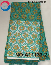 Nigeria Fashion style 2015 top one wholesale cord lace teal with stones for party