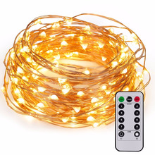 60LED Fairy String Light with Remote, AA Battery Powered on 20ft/6M Long Ultra Thin String Copper Wire Seasonal Decor Rope Light