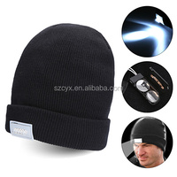 5 LED lighted Cap Hat Winter Warm Beanie Angling Hunting Camping Running Black knitted hat