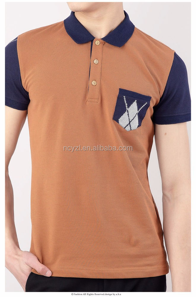 Cheap short sleeve shirt with two color of navy blue and orange polo shirt