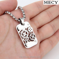 MECY LIFE newest top design necklace stainless steel men's Mechanical gear pendant