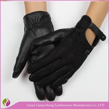 Leather bow trim black woolen iphone fashion new dress winter gloves