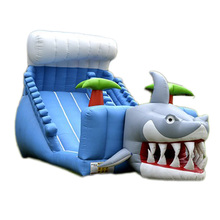 high quality shark wave inflatable slide/ dry slide factory price