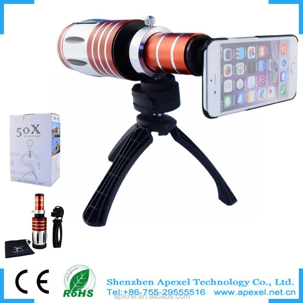 Popular!50x zoom telescope for mobile phone iphone camera lens for Samsung galaxy S3,zoom lens with phone case+tripod for Iphone