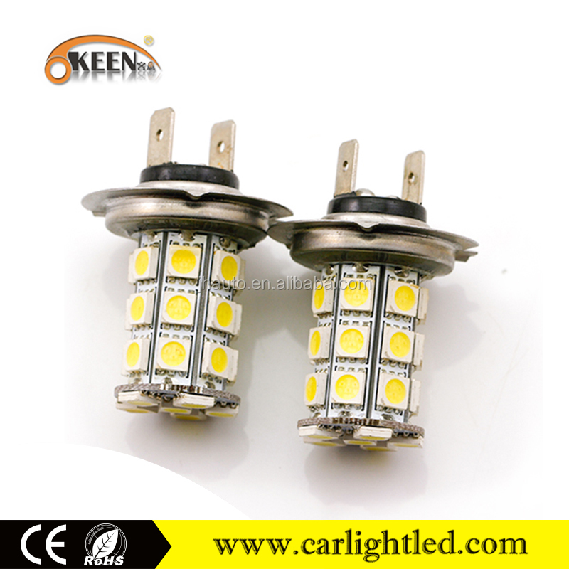 Auto Parts White/Red/Amber/Blue/Green 5050 LED Bulb H7 Fog Light 27SMD Car Light LED Fog Lamp