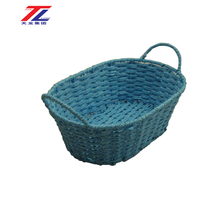 cheap wholesale eco-friendly paper rope weaving fruit picking basket with handles