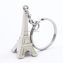 eiffel tower customized metal engraved 3D keychain