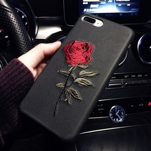Luxury Embroidery Rose Case Mobile Phone Cover For iPhone X 8 8 Plus 7 7 Plus