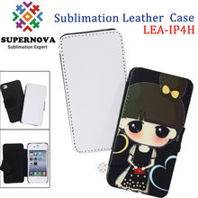 Sublimation Leather Phone Case for iPhone4 with White Fabric for Printing
