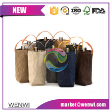 New design washable metllic paper wine bag for bottle
