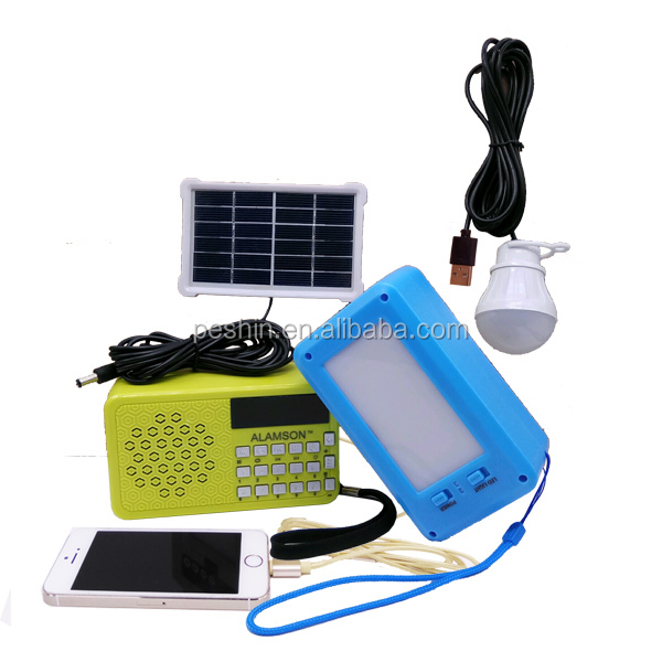 ALAMSON outdoor speaker charge by solar with fm rafio usb speaker power bank led light