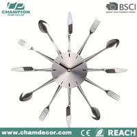 2016 new design knife and fork metal wall clock