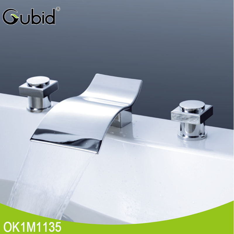 best customized polished bathroom brass basin waterfall faucet