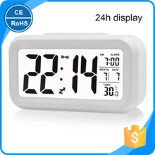 LED Digital Clock Repeating Snooze Alarm Clock Light-Activated Sensor Table Clock Backlight Time Date Temperature Display