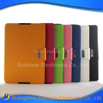 Wholesale pearl grain card slot design flip stand PU leather with TPU chassis mobile phone case for HTC Nexus 9