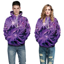 Wholesale 3d Pullover Hoodies Purple Leaves Print Hooded Sweatshirts With Front Pocket