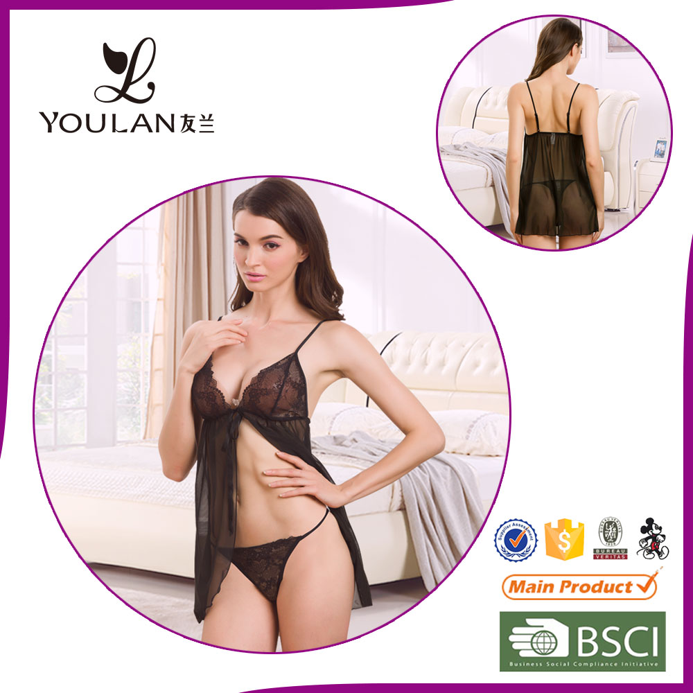 Factory Supplier Hot Black Pretty Transparent Erotic Sexy Lingerie