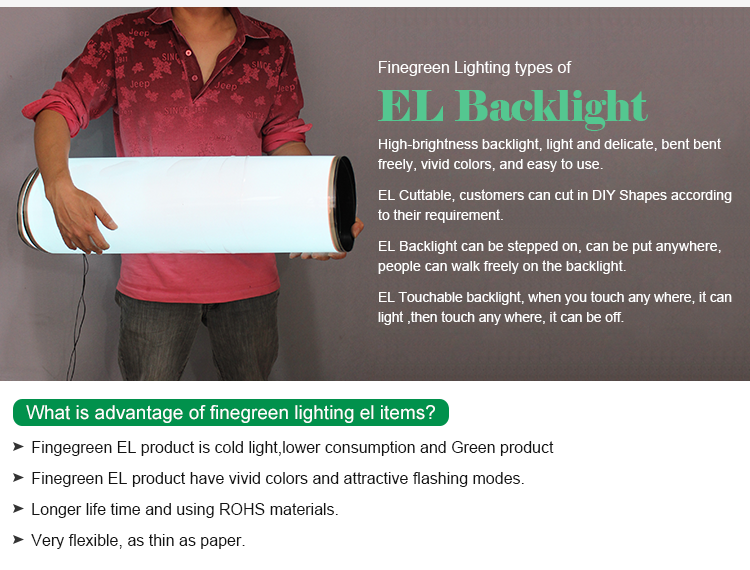 2017 shenzhen finegreen super bright el backlight panel