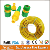 "Cixi Jinguan Yellow Color PVC Garden Hose 1/2"" 3/4"" 1"" with Spray Gun,Food Grade Flexible 1/2"" PVC Reinforced Water Supply Hose"